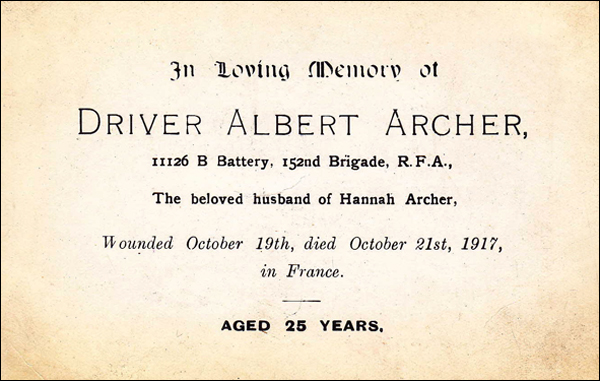 Archer Albert Memorial Card
