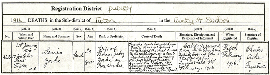 Death certificate for Louisa York